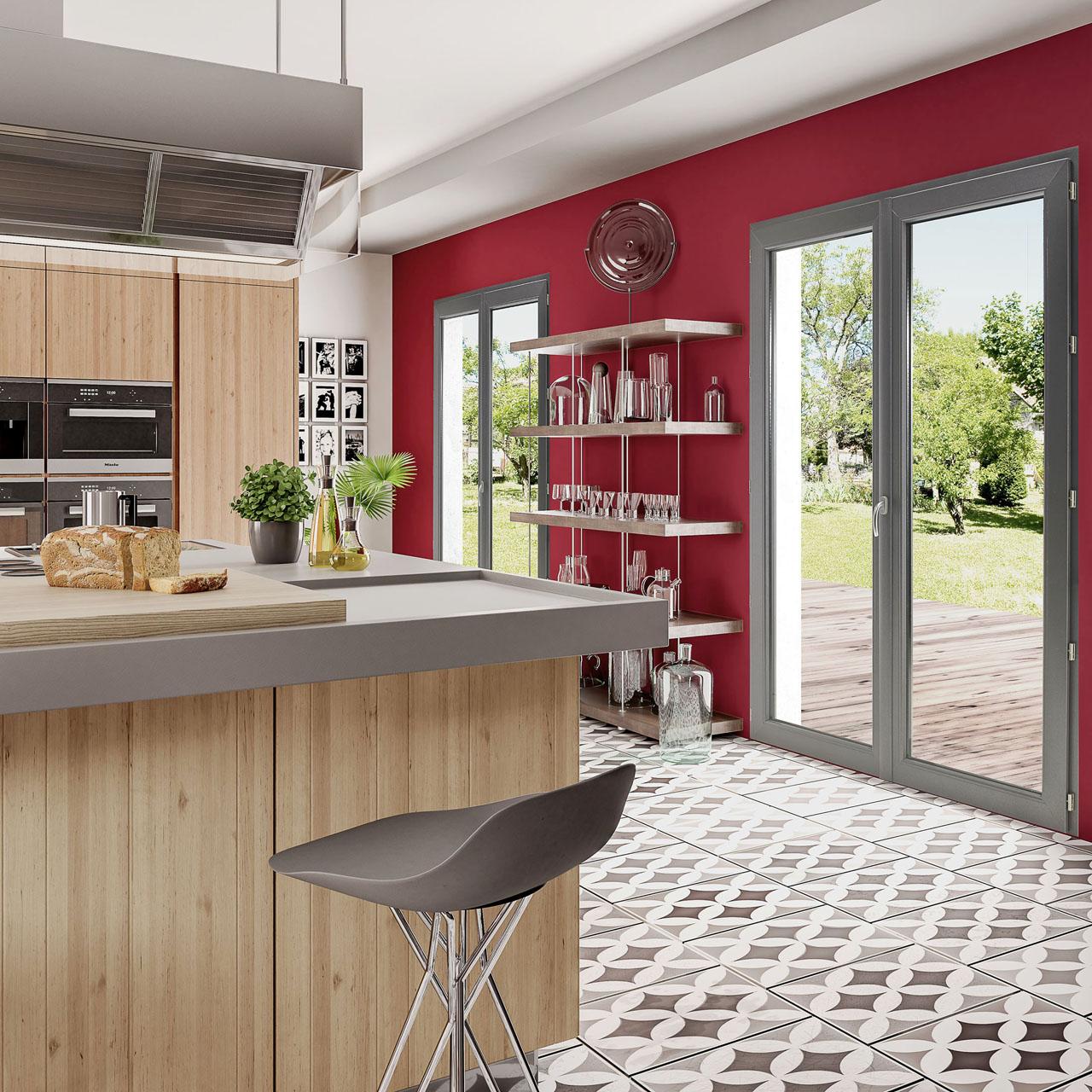 Image 3d d'une cuisine avec deux fenêtres alu