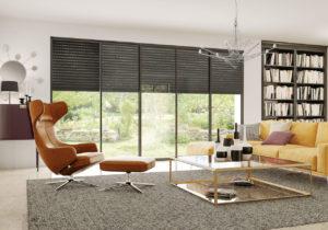 Image 3d vue d'un salon avec une baie vitrée et son volet roulant