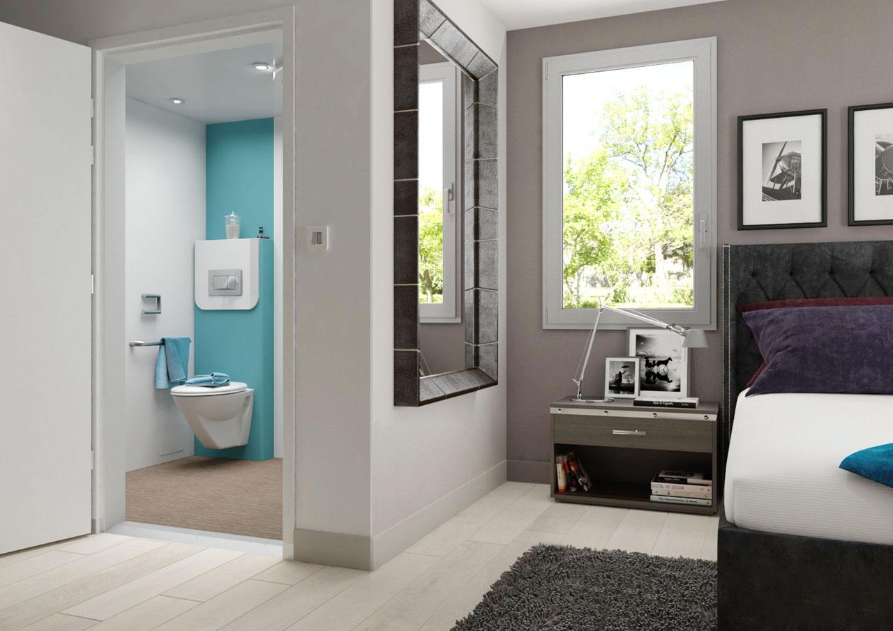 Image 3d d'une chambre médicalisée avec porte ouverte sur la salle de bain