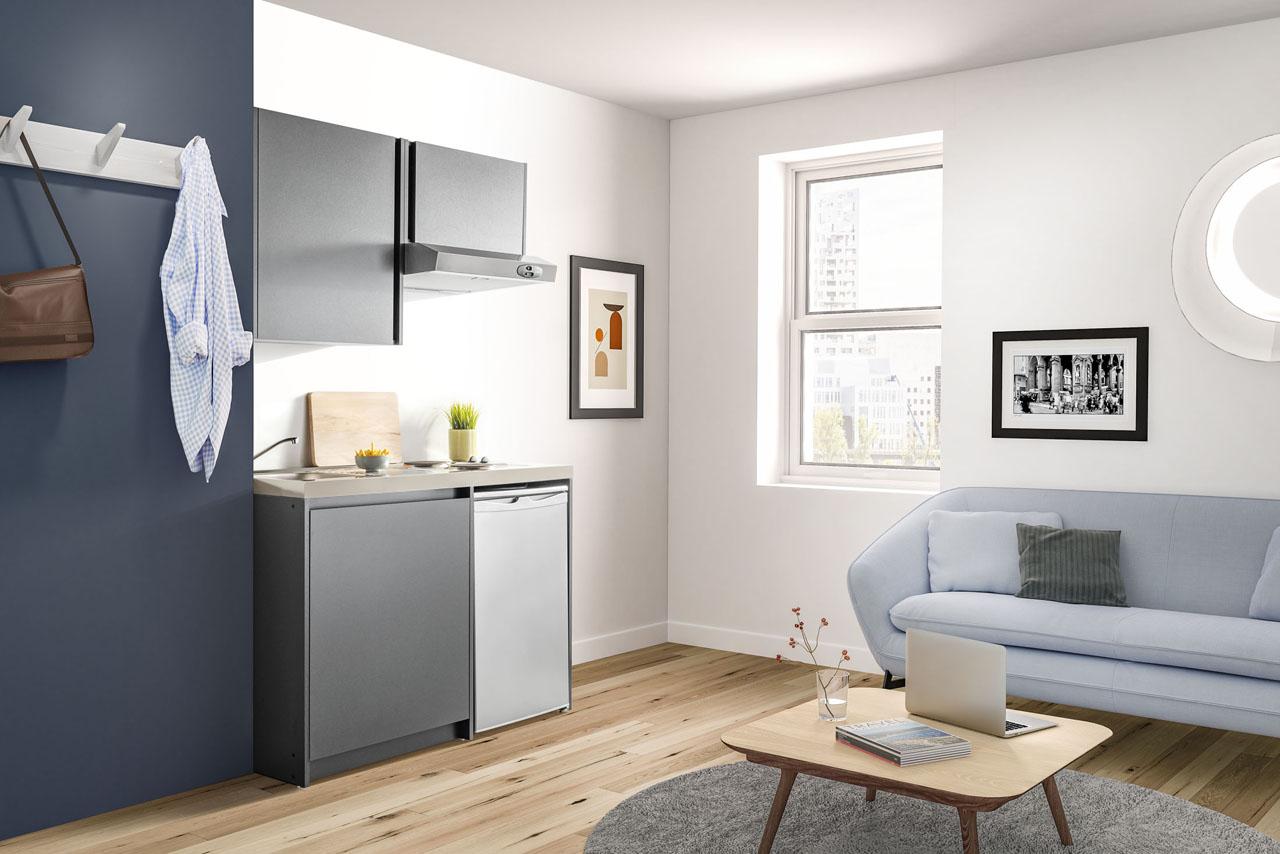 Image 3d d'une cuisine d'étudiant avec un canapé