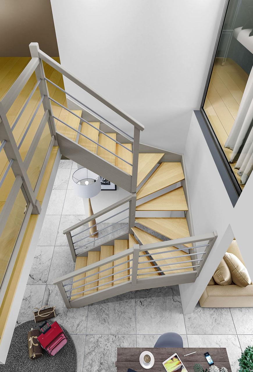 Image 3d d'un escalier vu du dessus