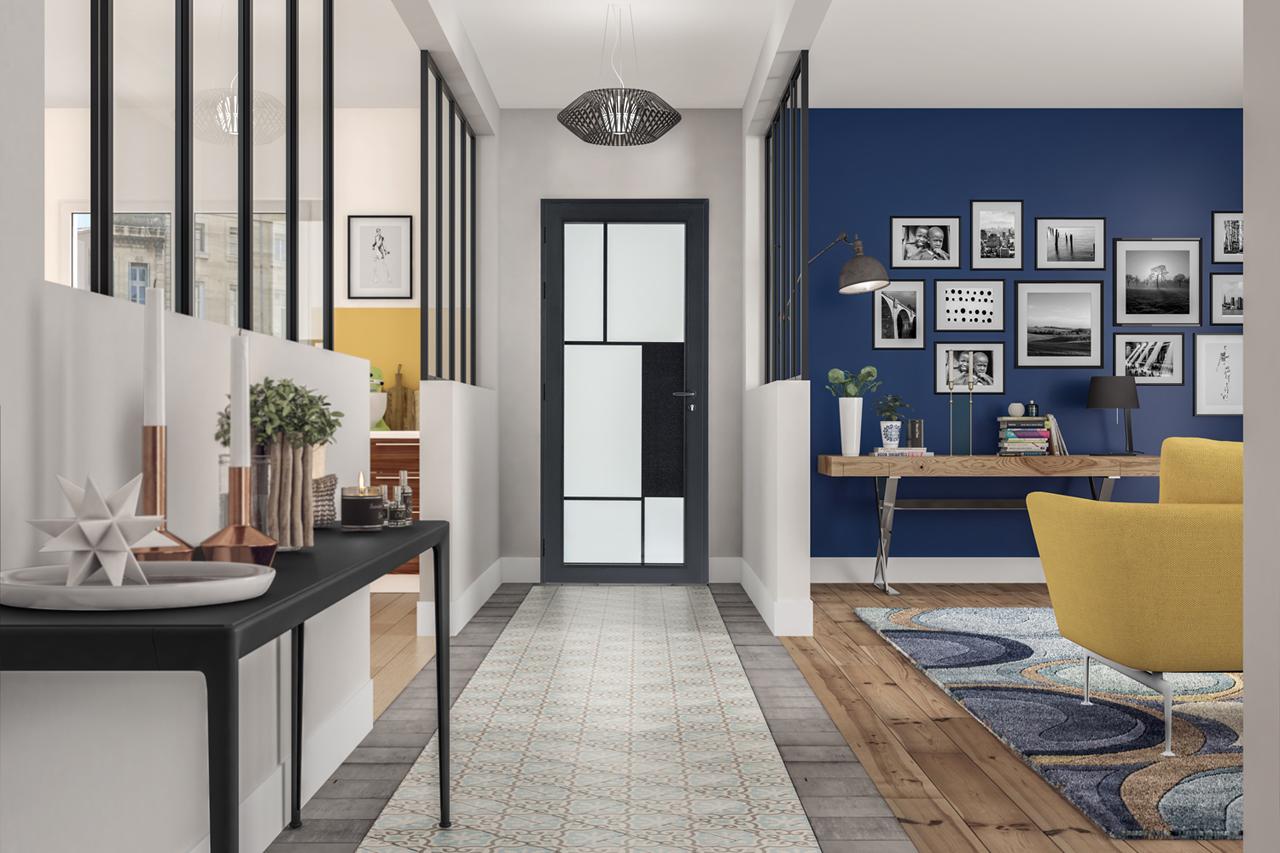 image 3d d'un intérieur de maison avec une vue sur le salon cuisine et la porte d'entrée