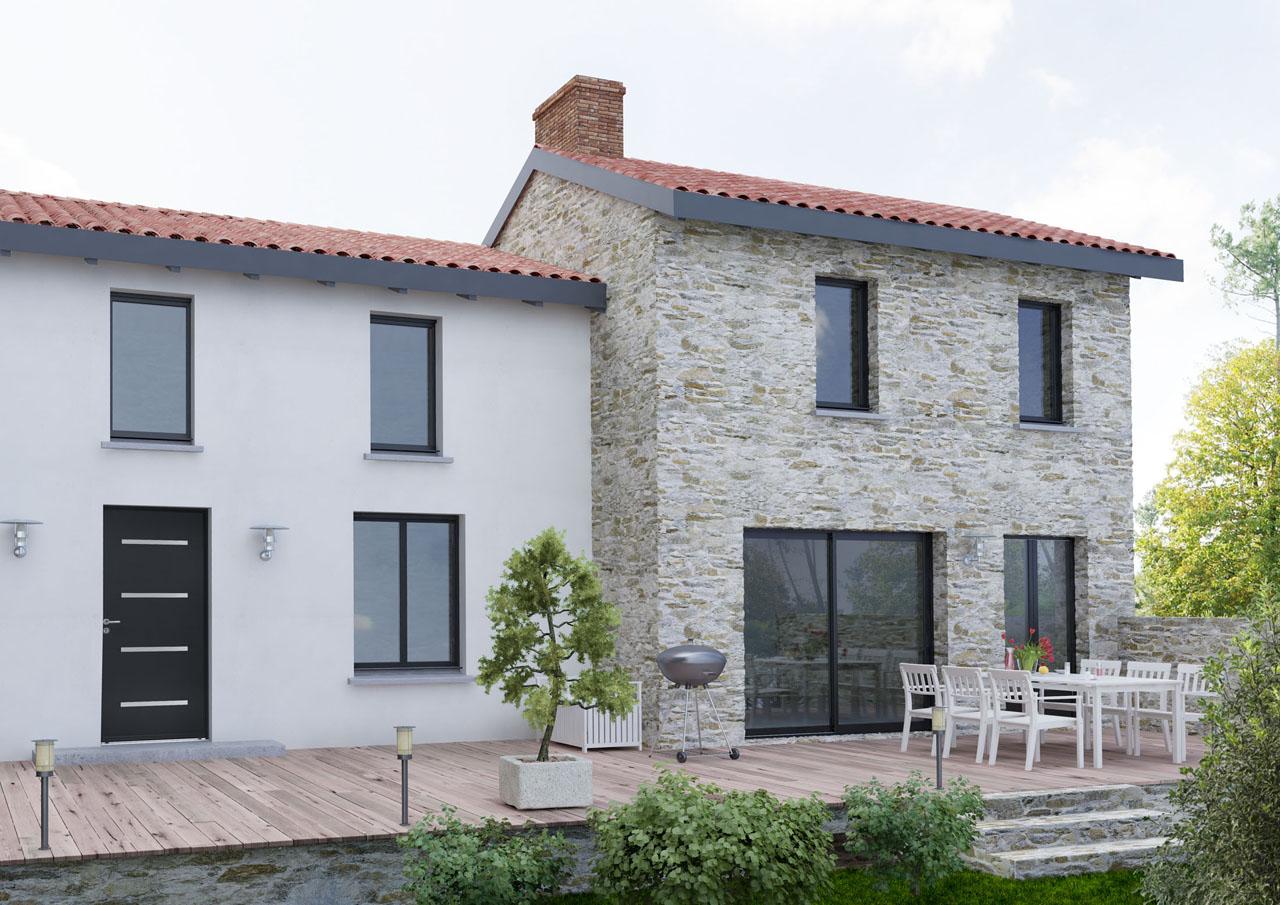 Image 3d d'une façade de maison avec les différentes menuiseries