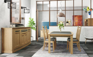 Image 3d d'une salle à manger en bois