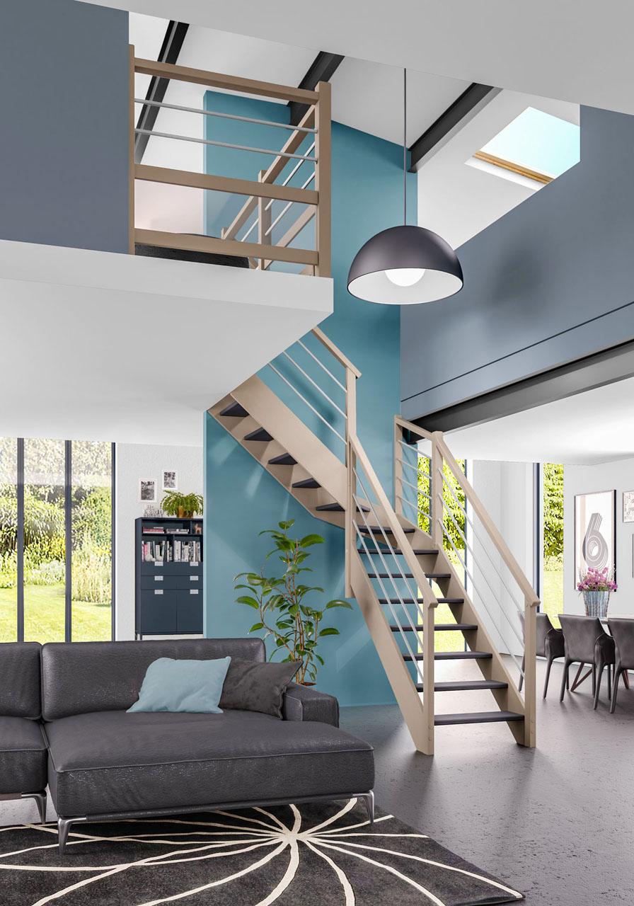 Image 3d d'un intérieur de maison moderne avec une vue sur l'escalier