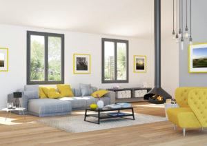 Image 3d d'une salon avec cheminée et deux fenêtres