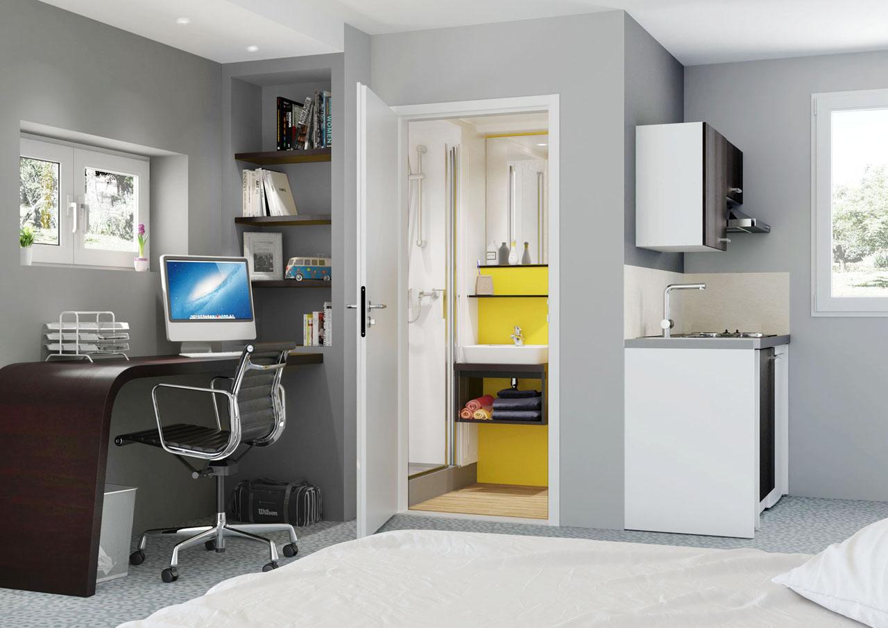 Image 3d d'une chambre d'étudiant avec la porte ouverte de la salle de bain