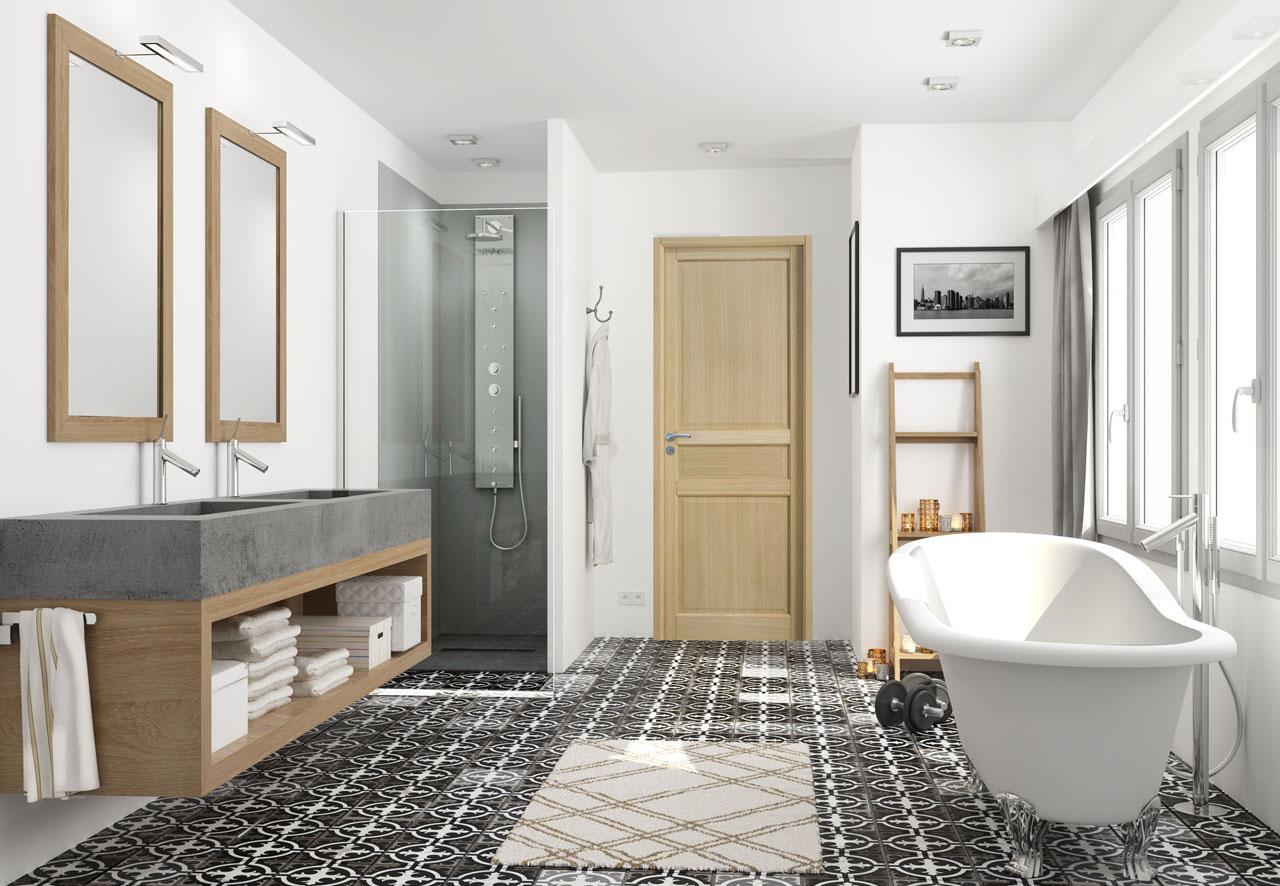 image 3d d'une salle de bain et au centre une porte en bois